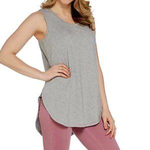 S AnyBody Cozy Knit Side Split Tank Top Shirt Grey